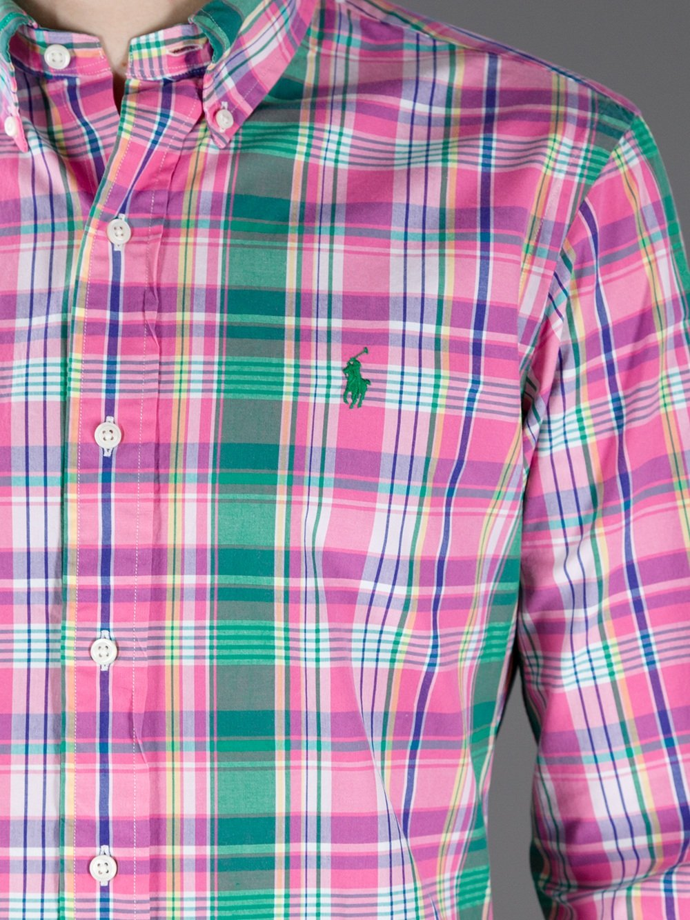 lyst polo ralph lauren plaid shirt in pink for men. Black Bedroom Furniture Sets. Home Design Ideas