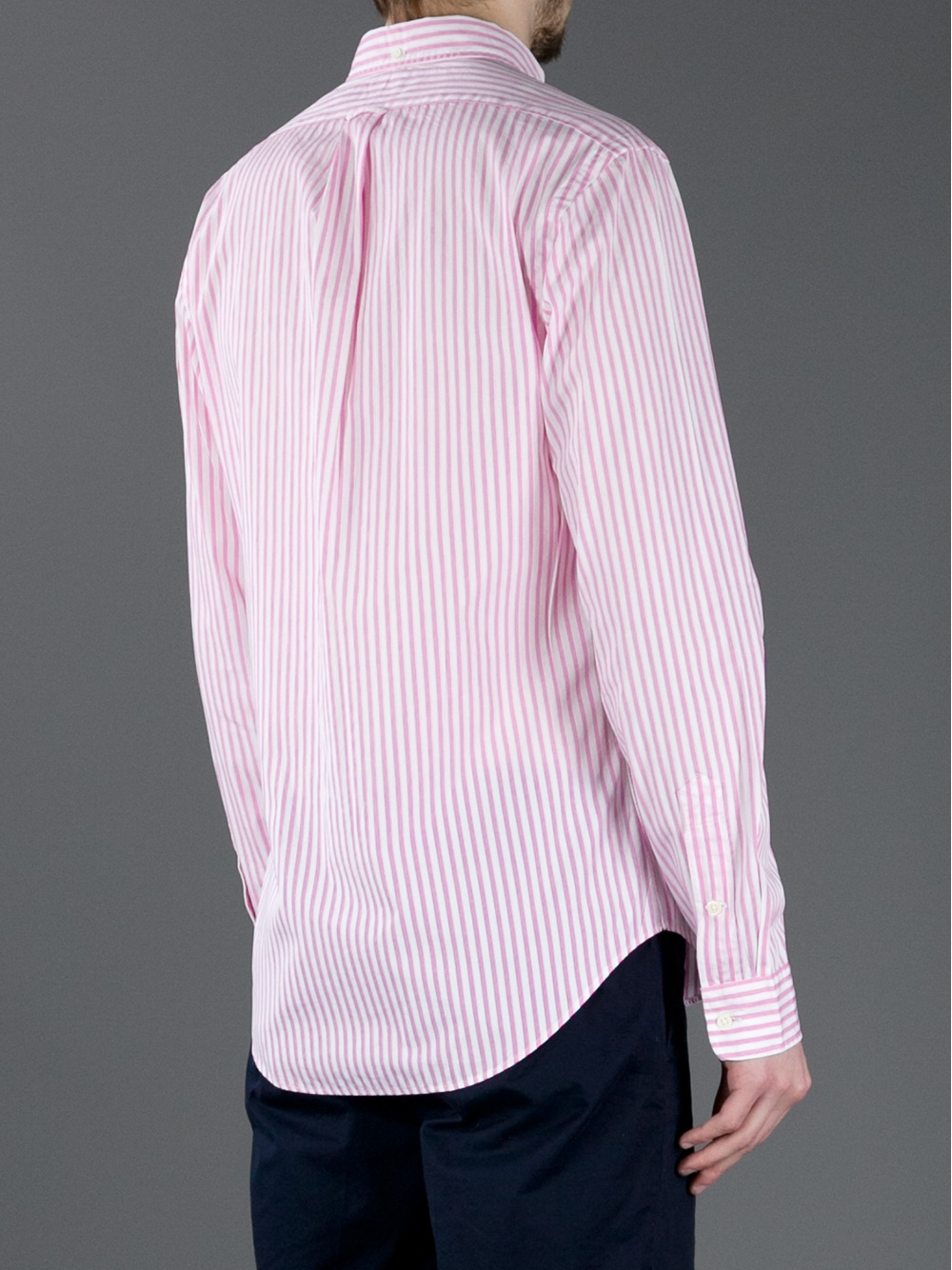 Polo ralph lauren striped shirt in pink for men lyst for Pink and white ralph lauren shirt