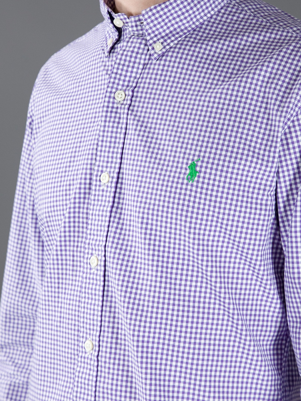 Lyst polo ralph lauren gingham button down shirt in for Men s purple gingham shirt