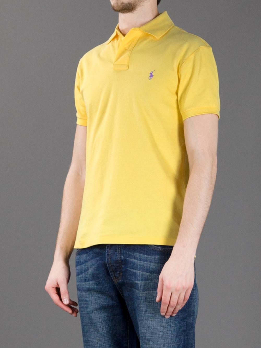 Lyst polo ralph lauren logo polo shirt in yellow for men for Ralph lauren logo shirt