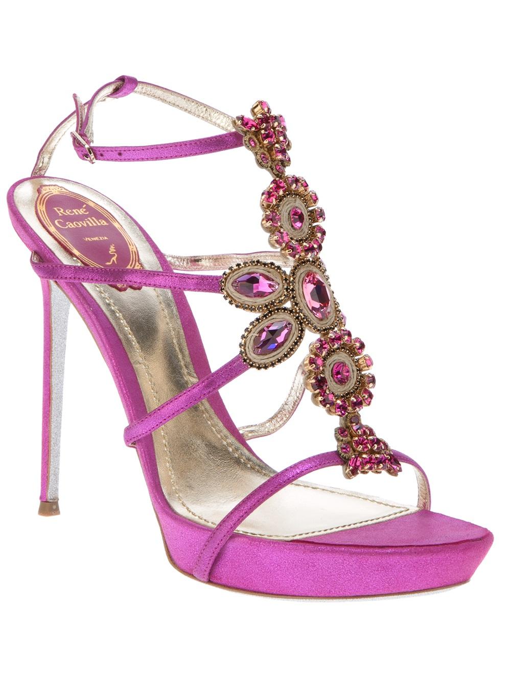 e382c9ebd1c Rene Caovilla Jewel Embellished Sandal in Pink - Lyst