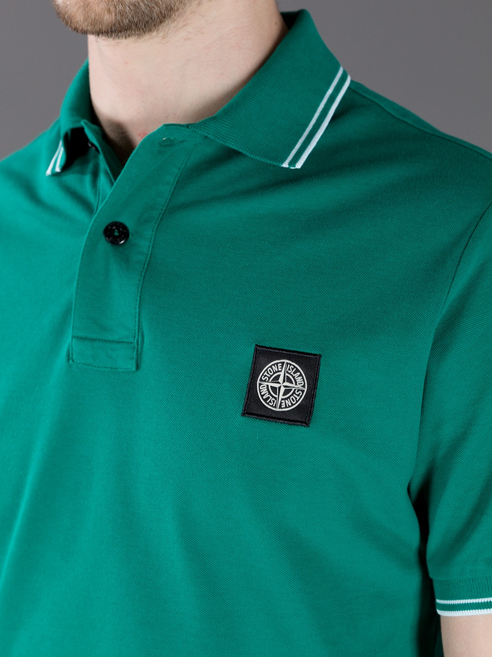 Lyst Stone Island Pique Polo Shirt In Green For Men