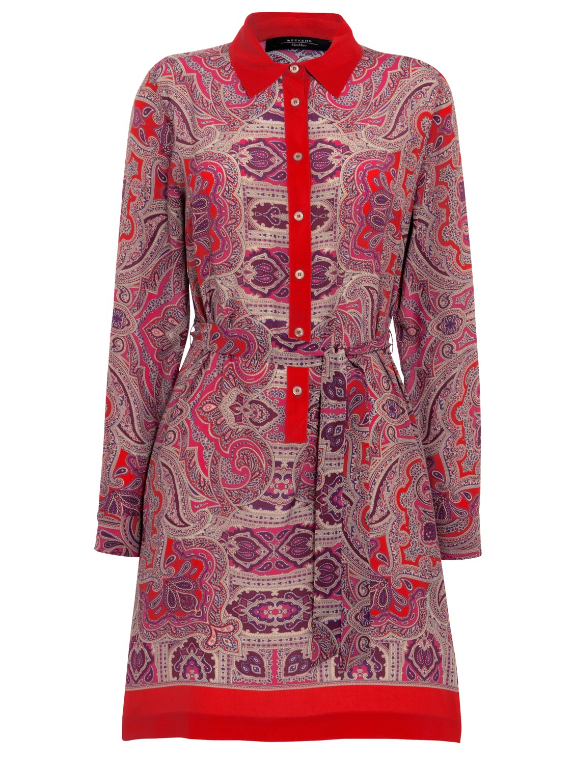 Weekend By Maxmara Silk Paisley Shirt Dress In Red Red