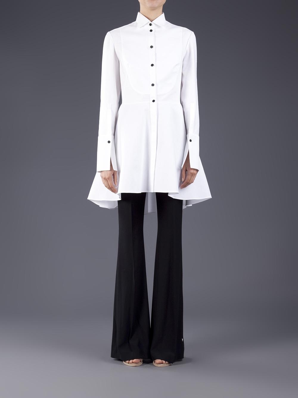 cheaper good texture latest Alexander McQueen White Tuxedo Shirt Dress