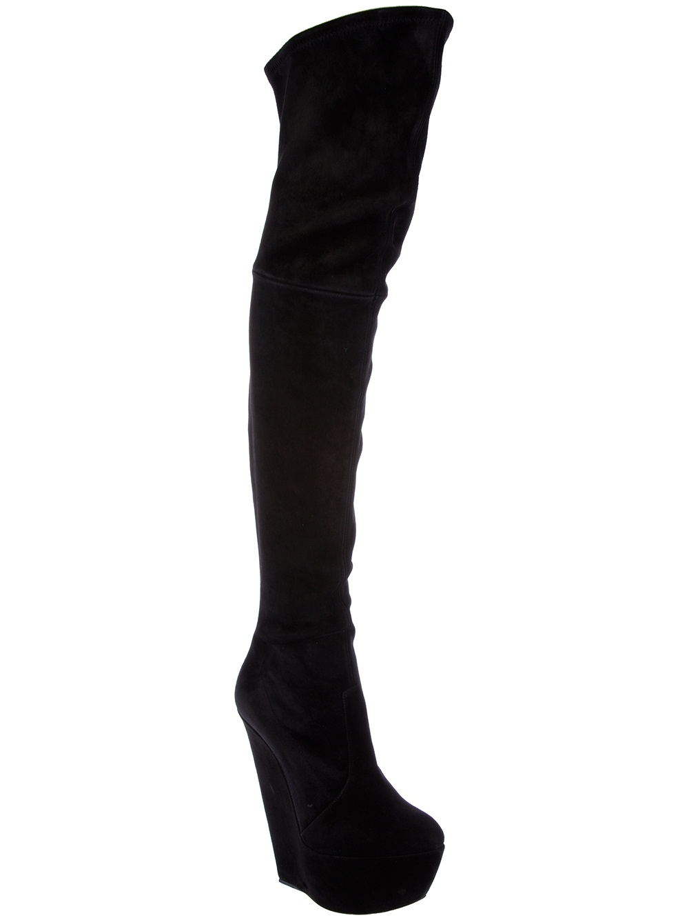 Casadei Fitted Thigh High Boot in Black | Lyst