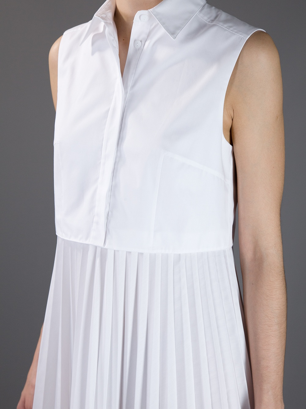 3b67c66e2ef Christopher Kane Pleated Skirt Shirt Dress in White - Lyst