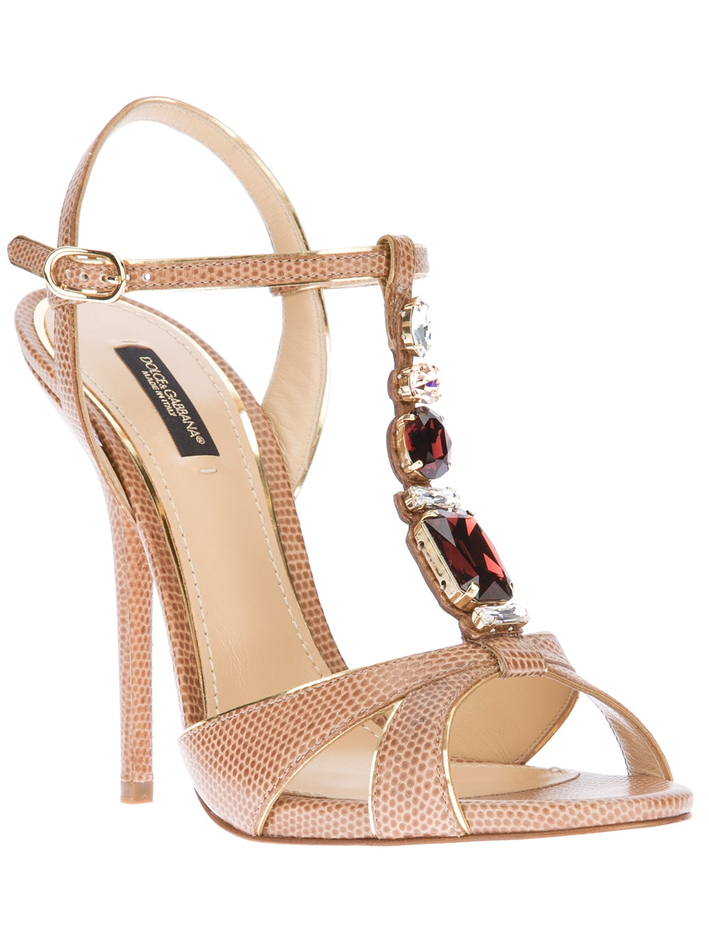bd6e9f29b2a Lyst - Dolce   Gabbana Embellished Print Sandal in Natural