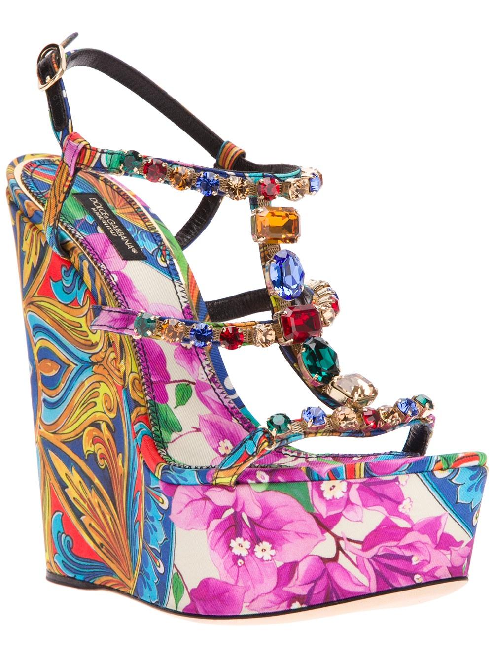 5dcb8ba1760 Lyst - Dolce   Gabbana Printed Wedge Sandal