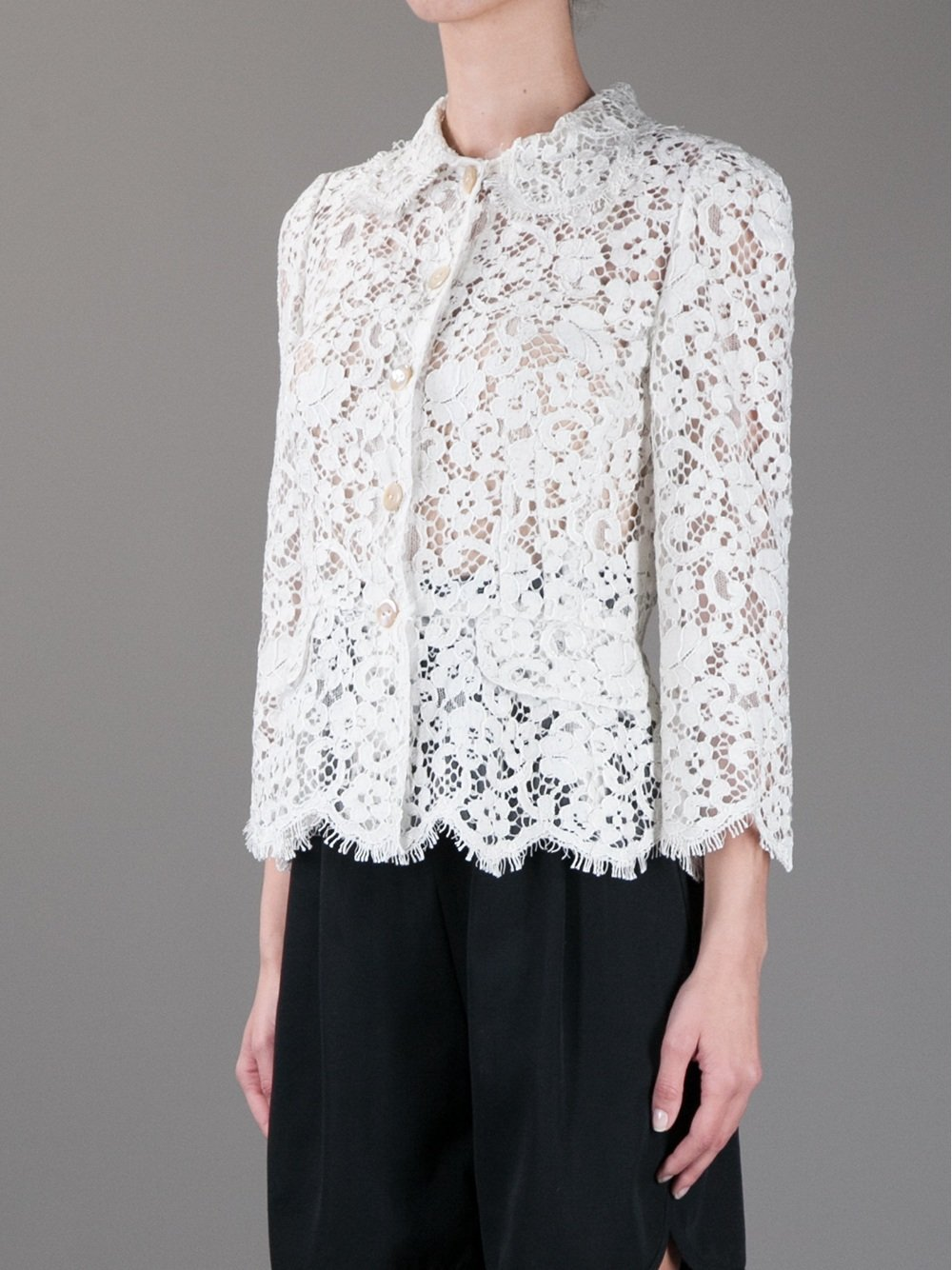 Dolce Amp Gabbana Sheer Lace Jacket In Grey White Lyst
