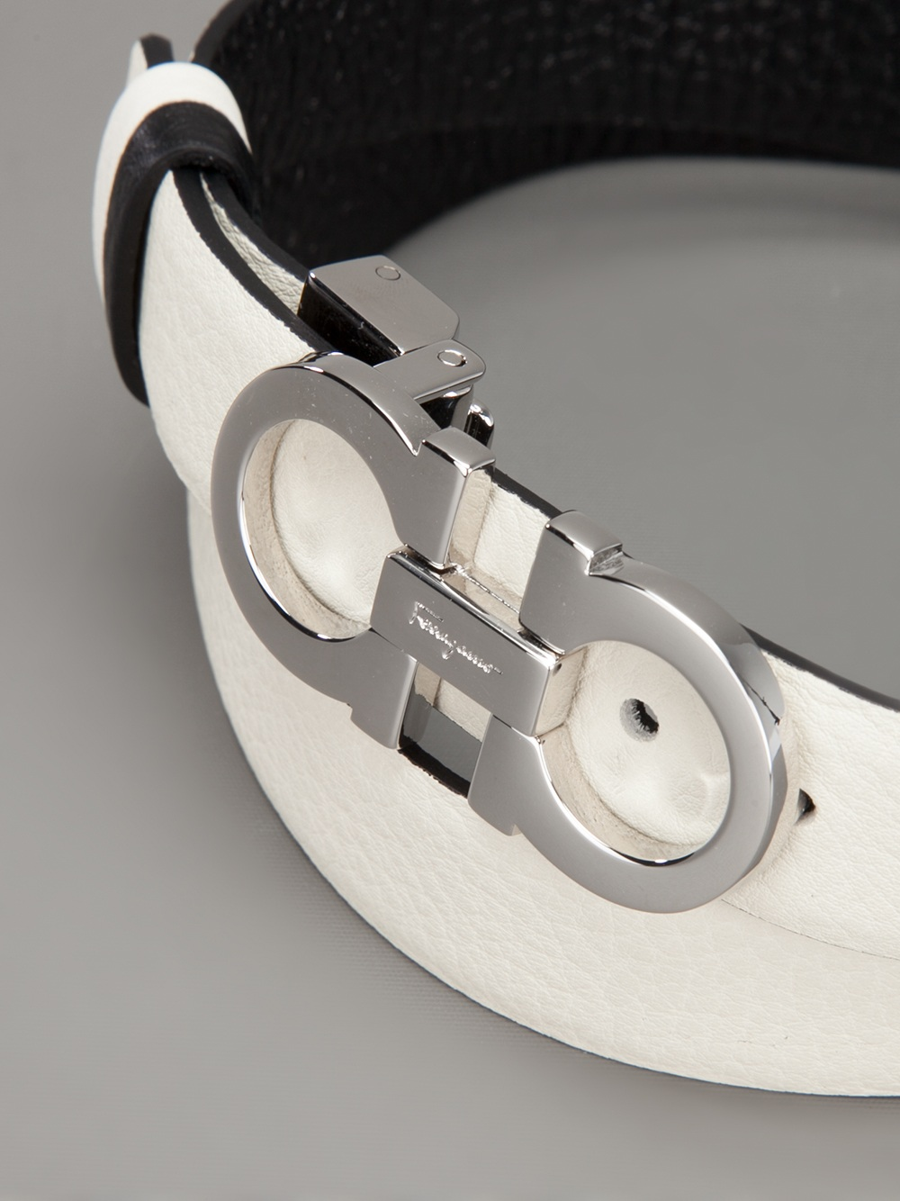 lyst ferragamo double face belt in white