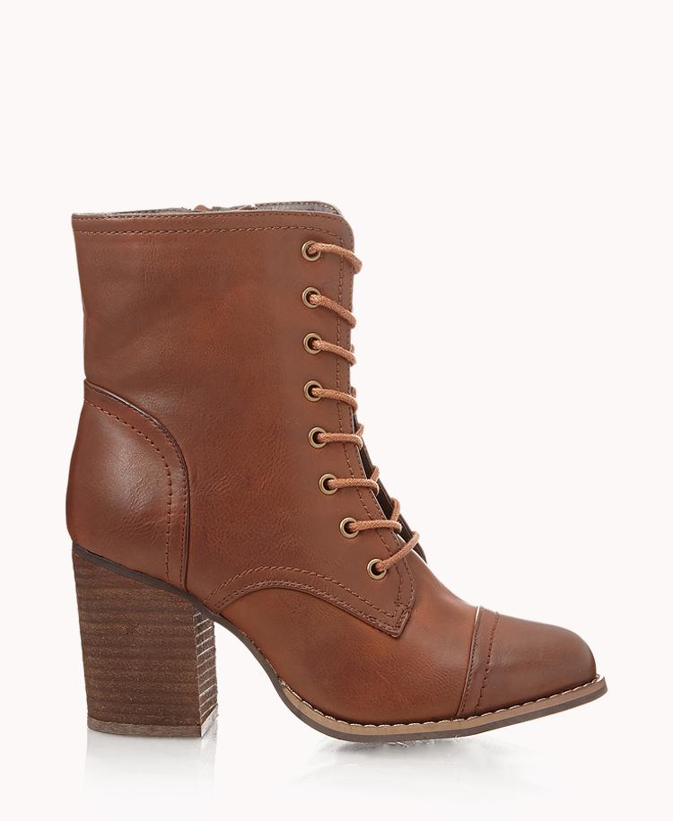 Lyst - Forever 21 Block Heel Combat Boots in Brown 499aa7ddd171