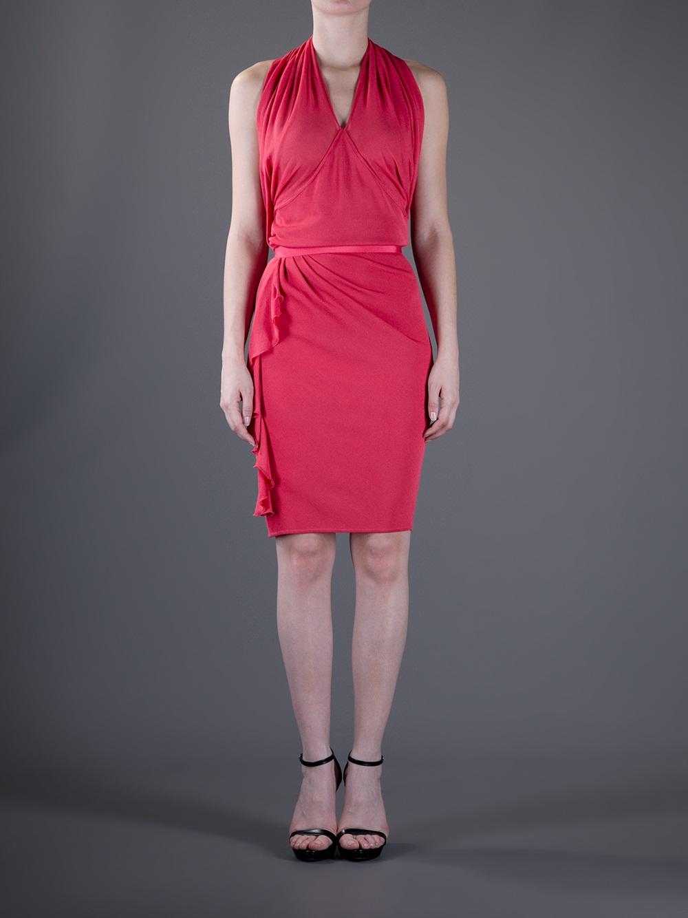 Lyst Giambattista Valli Halterneck Dress In Pink