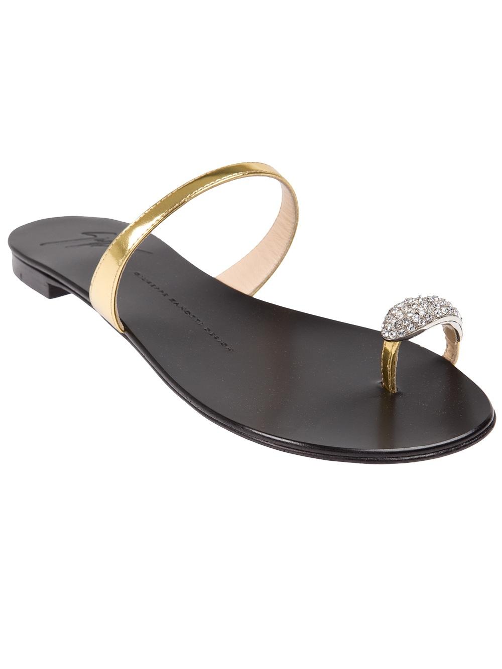 Lyst Giuseppe Zanotti Toe Ring Sandal In Metallic
