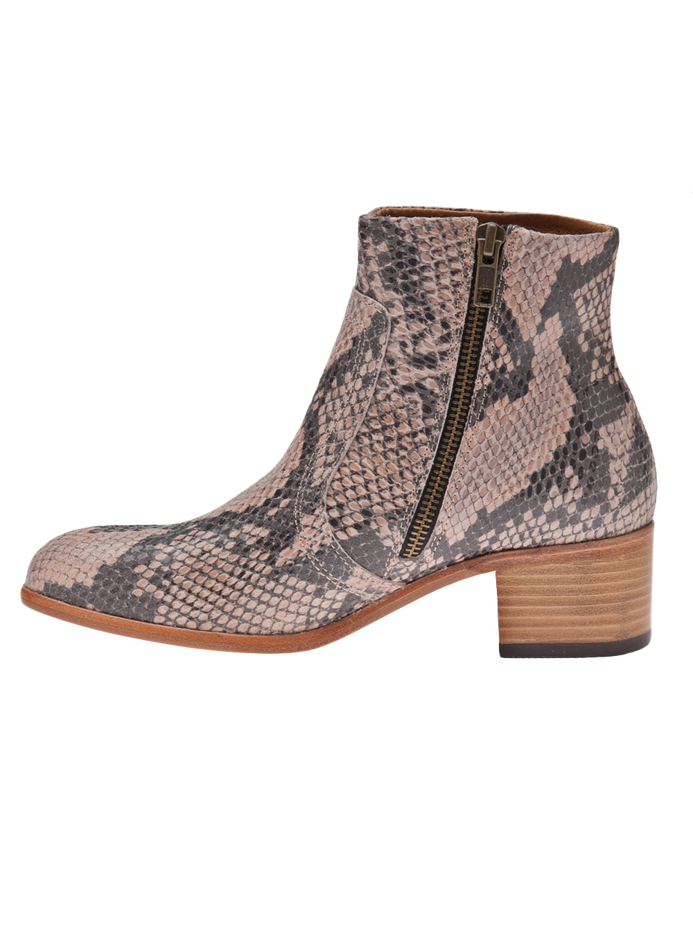 H by Hudson Snake Ankle Boot in Pink & Purple (Brown)