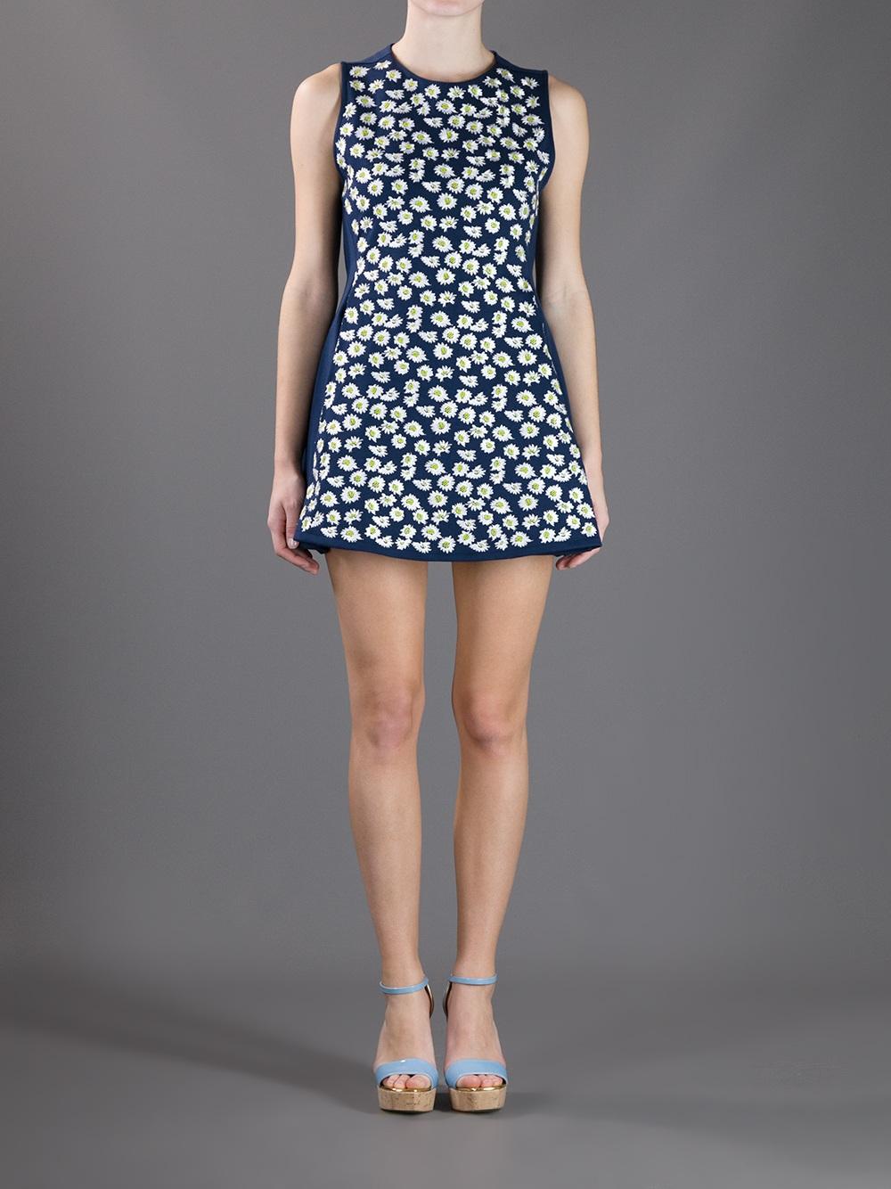Kenzo Bee Print Dress In Blue Lyst