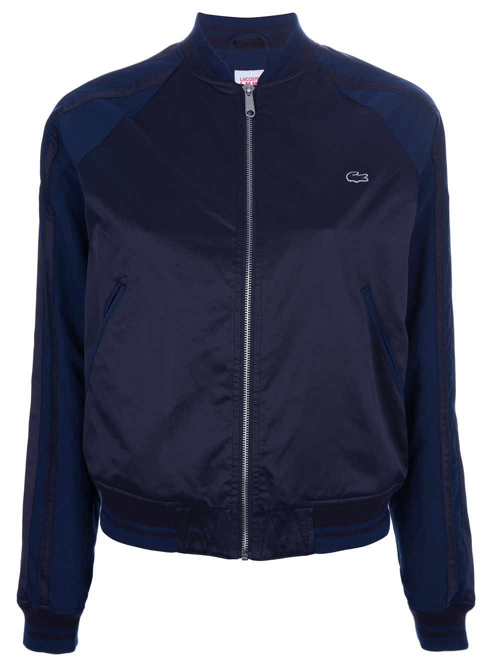 lacoste l ive contrast sleeve bomber jacket in blue lyst. Black Bedroom Furniture Sets. Home Design Ideas