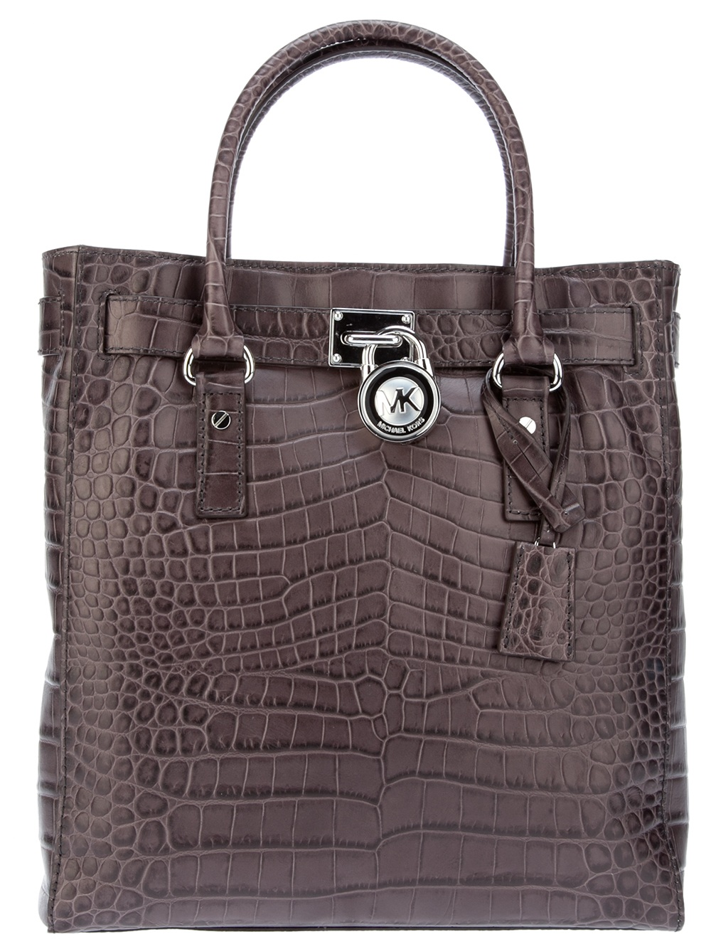 michael michael kors crocodile print shopper bag in black. Black Bedroom Furniture Sets. Home Design Ideas