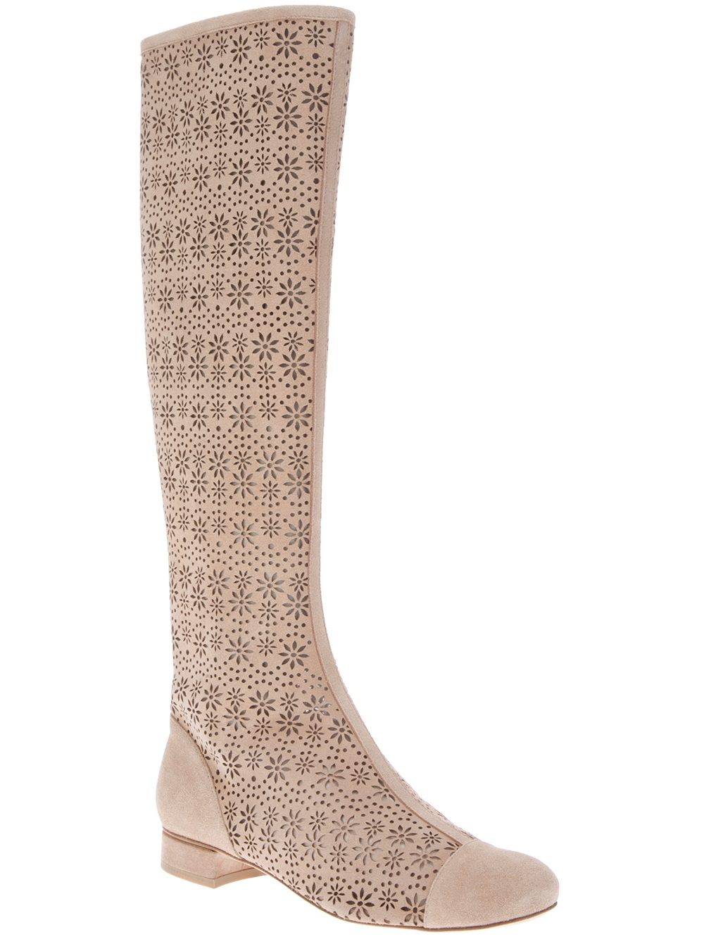 Boutique Moschino Perforated Knee High Boot in Nude (Natural)