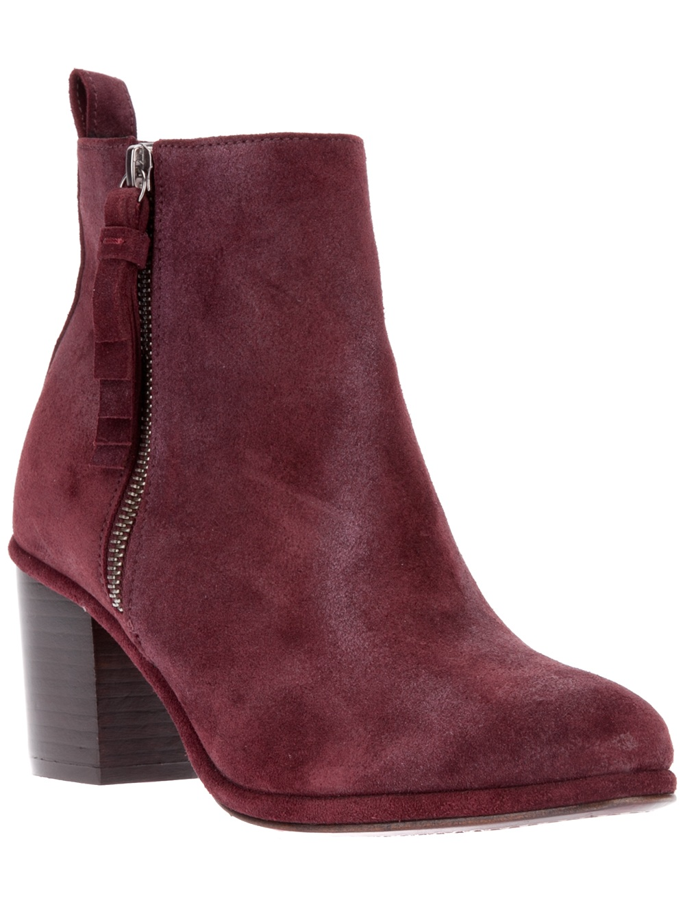 Opening ceremony Suede Chunky Heel Ankle Boot in Purple | Lyst