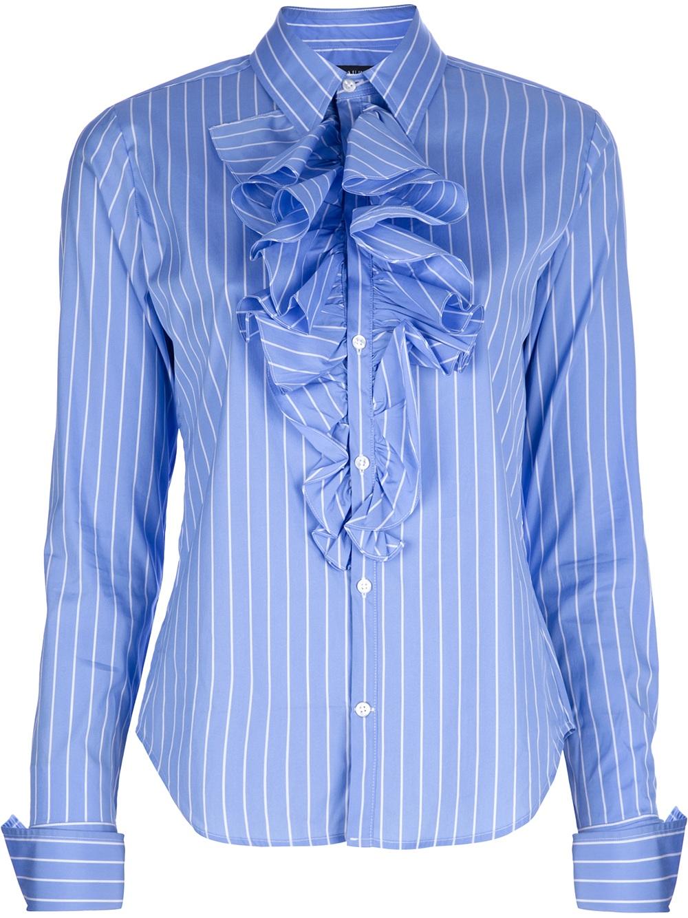 78bbbd3b1c6dd9 Ralph Lauren Ruffle Front Shirt in Blue - Lyst