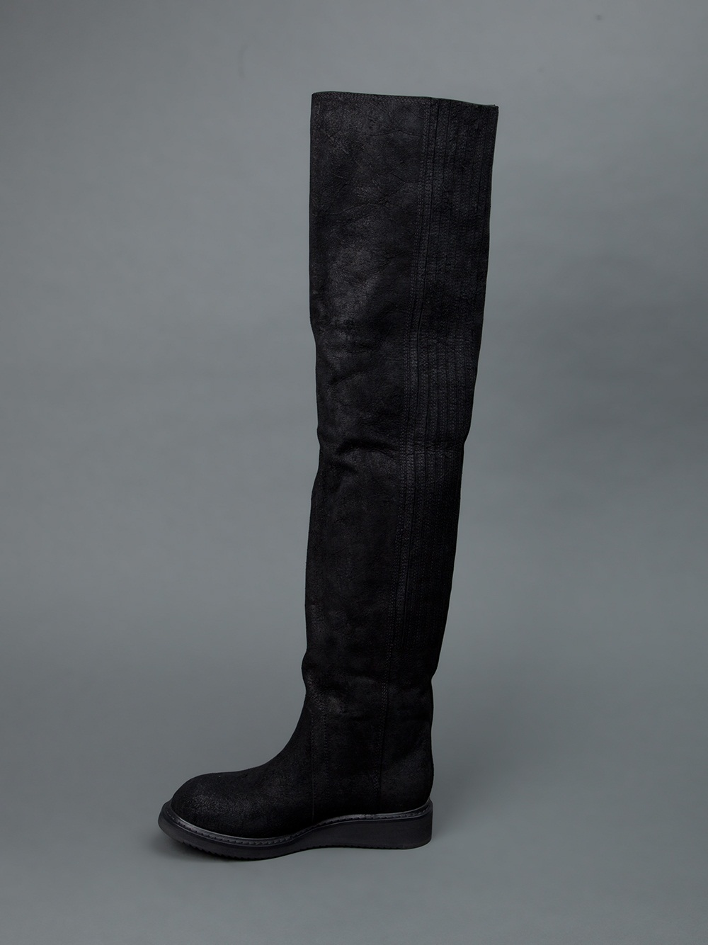 rick owens thigh high leather boots in black lyst