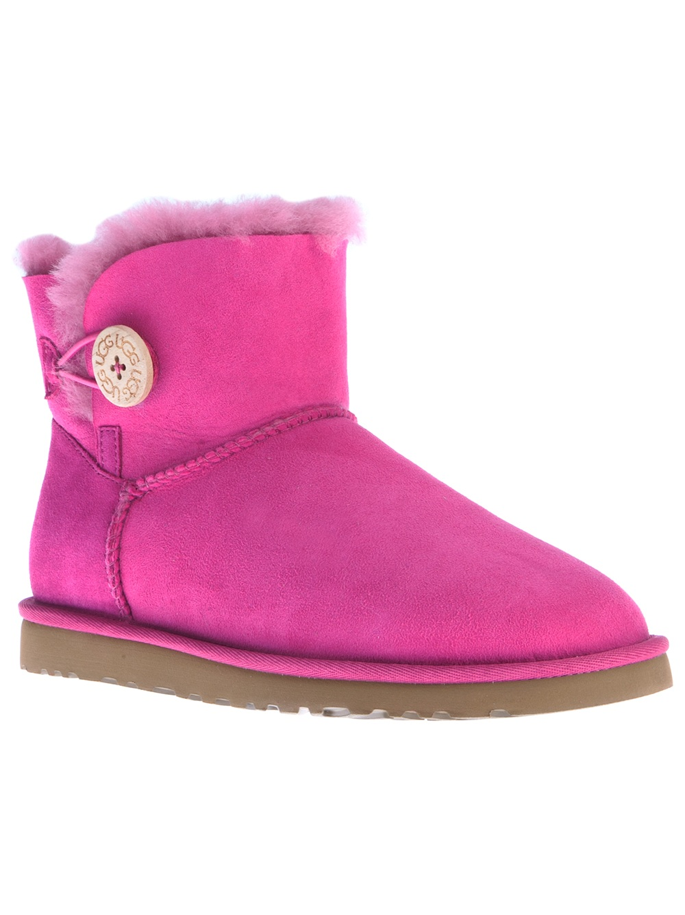 lyst ugg ankle length mini button boot in pink. Black Bedroom Furniture Sets. Home Design Ideas