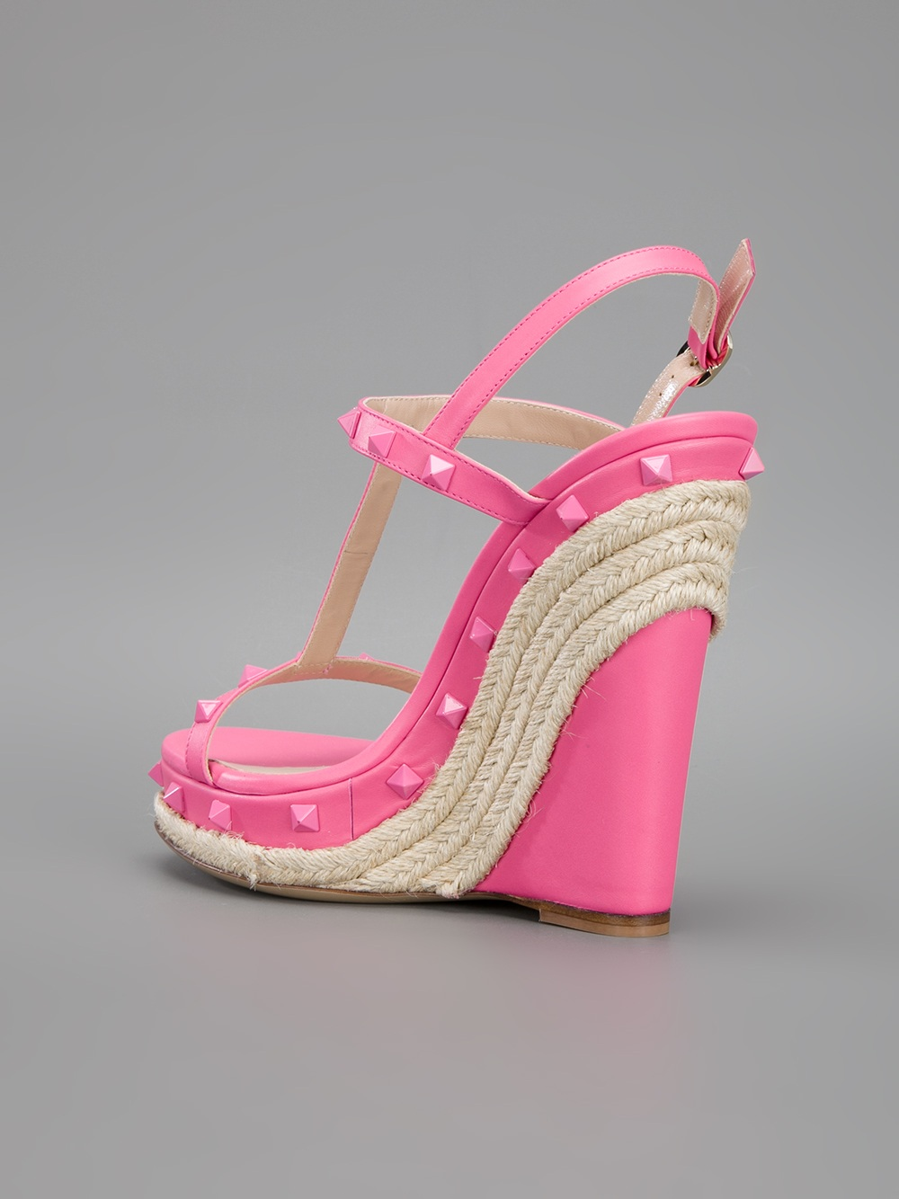 Valentino Studded Wedge Sandal In Pink Lyst