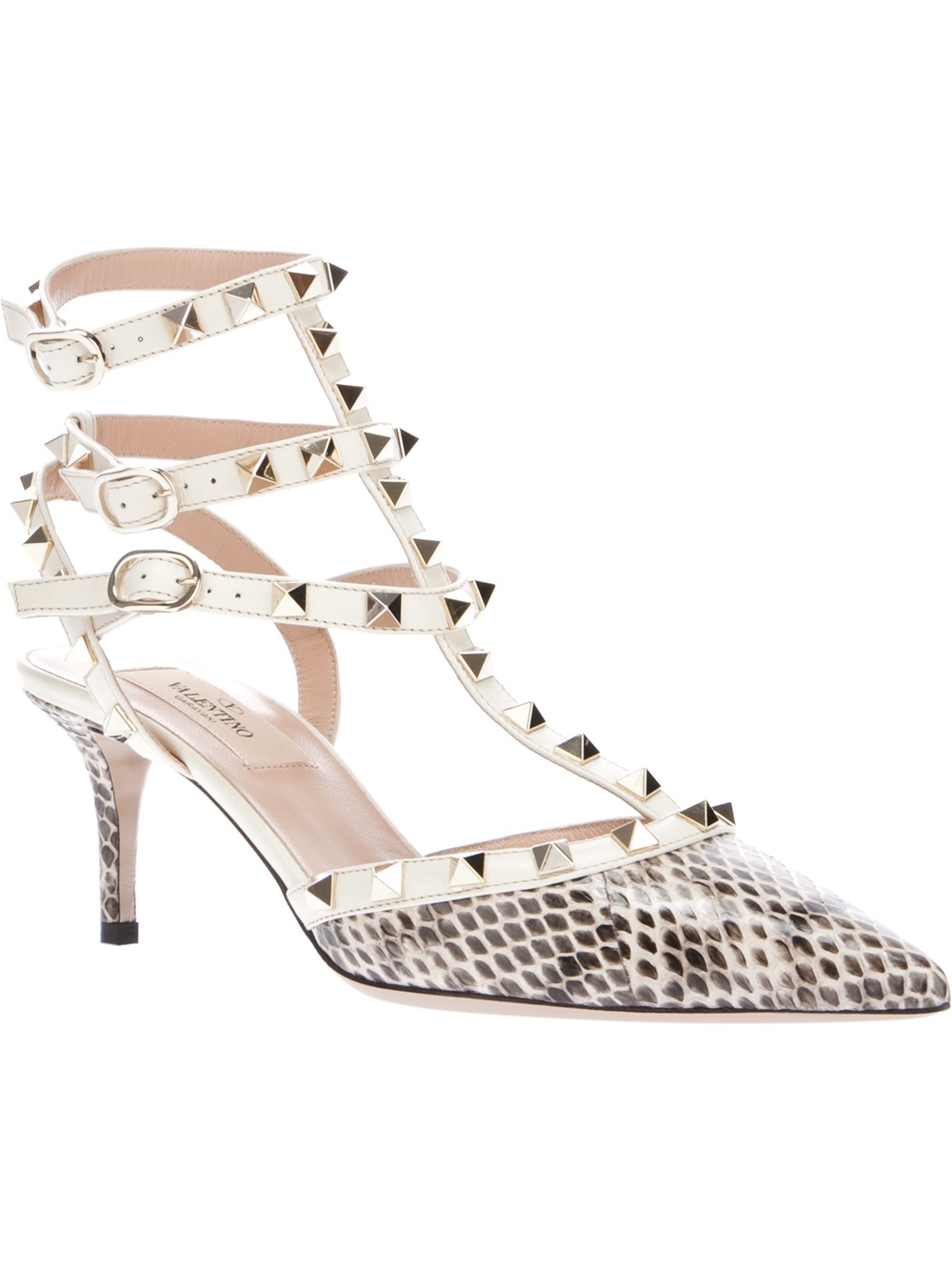 Valentino Python Print Studded Strappy Pumps in White | Lyst