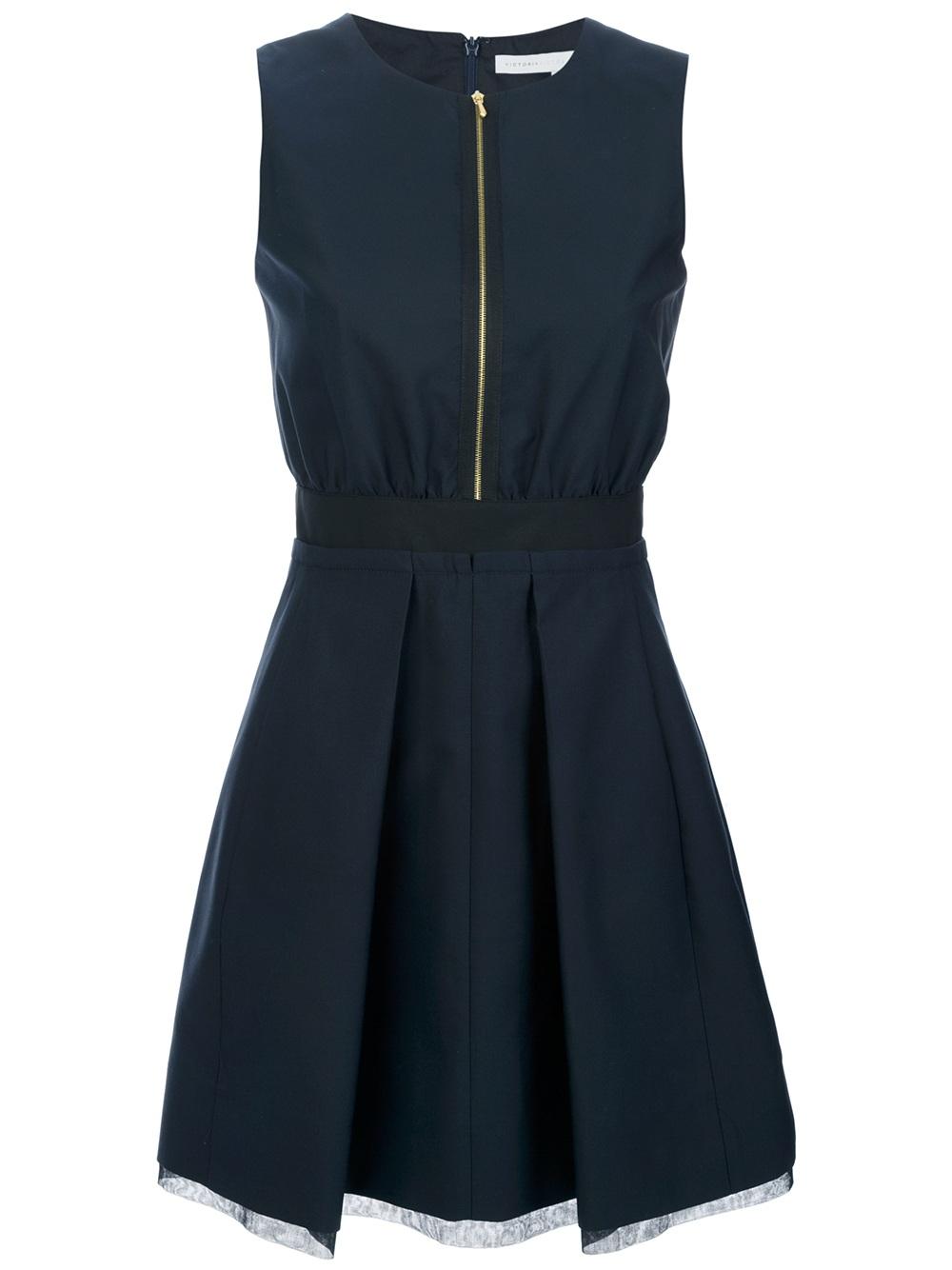 Lyst Victoria Beckham Sleeveless Zip Fastening Dress In Blue