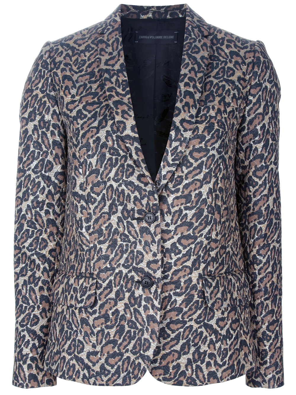 Zadig Amp Voltaire Veda Leopard Print Blazer In Brown Lyst