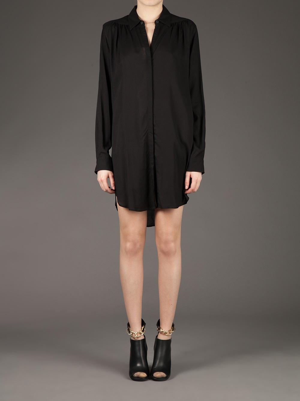 Ann demeulemeester Shirt Dress in Black   Lyst