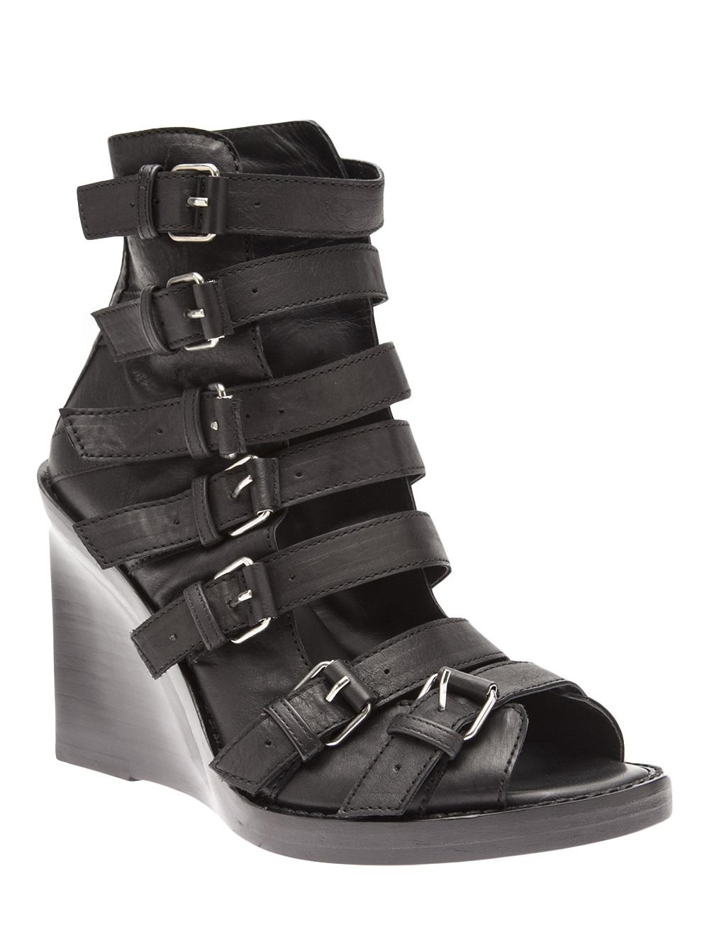Ann Demeulemeester Strappy Wedge Sandal In Black Lyst