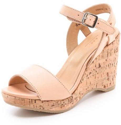 A P C Cork Wedge Sandals In Beige Lyst
