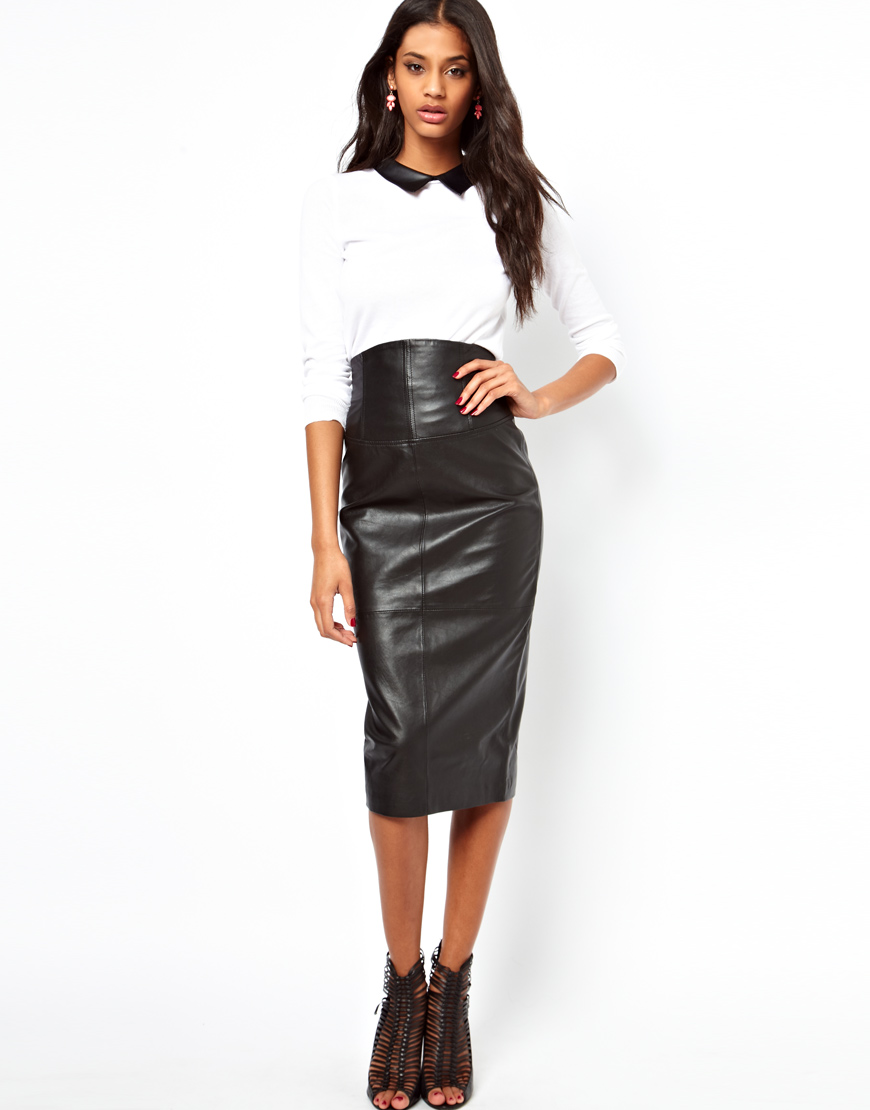 Asos Wasp Pencil Skirt in Leather in Black | Lyst