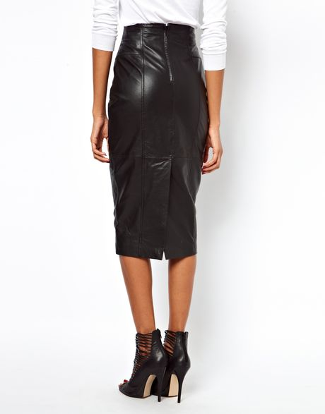 asos wasp pencil skirt in leather in black lyst
