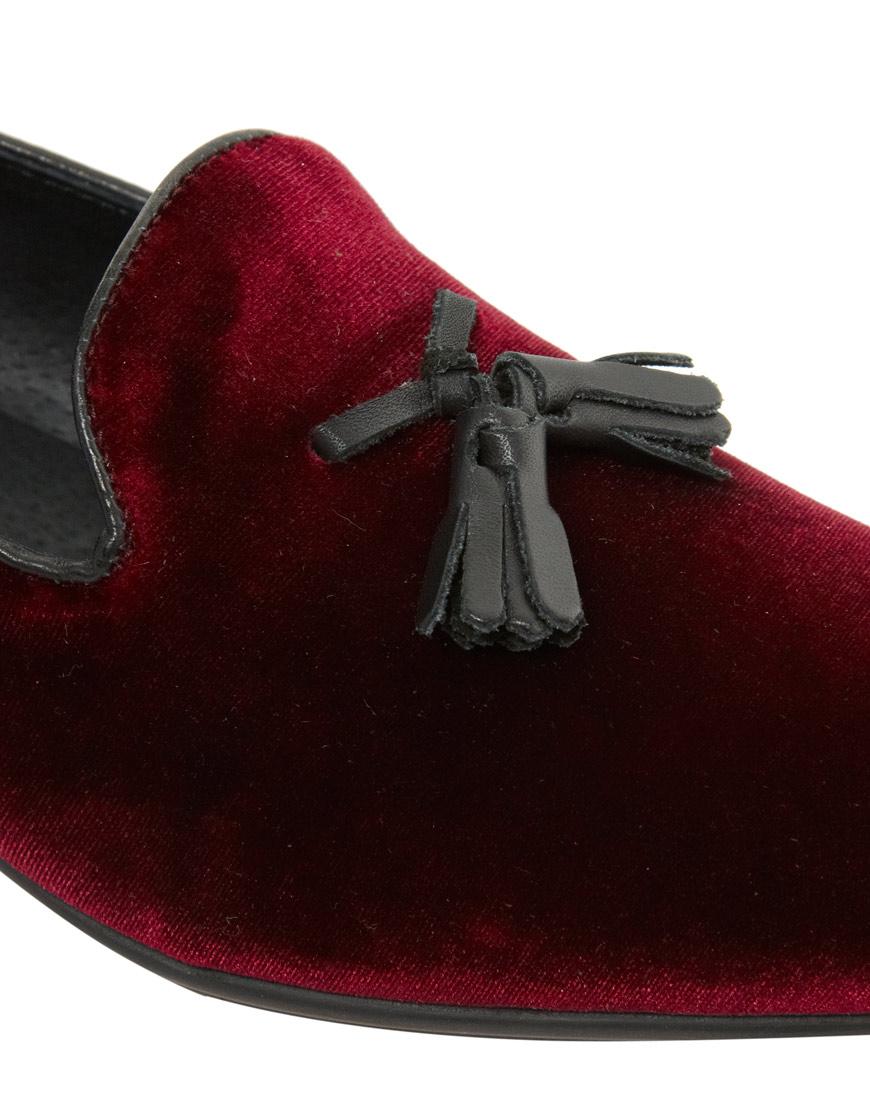 279224a8039 Lyst - ASOS Tassel Loafers in Velvet in Red for Men