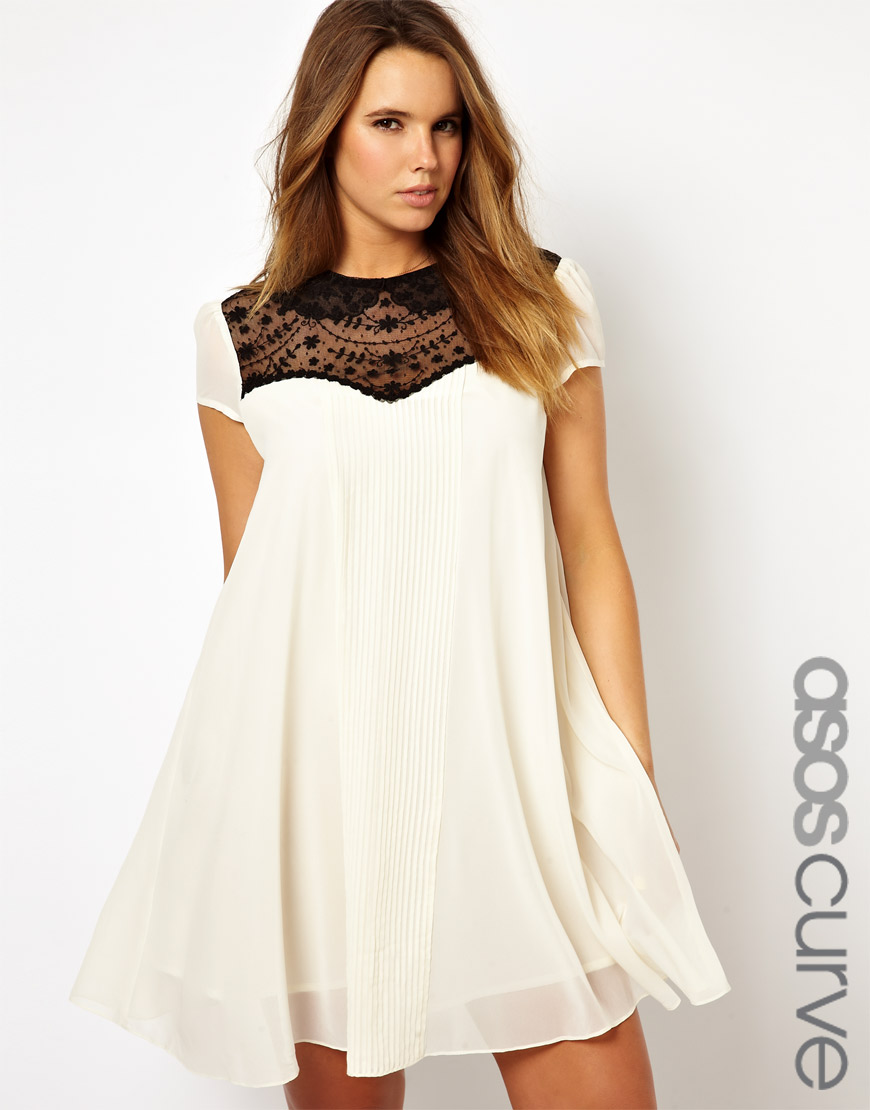08fdace247e4 ASOS Asos Curve Exclusive Swing Dress with Lace Insert in White - Lyst