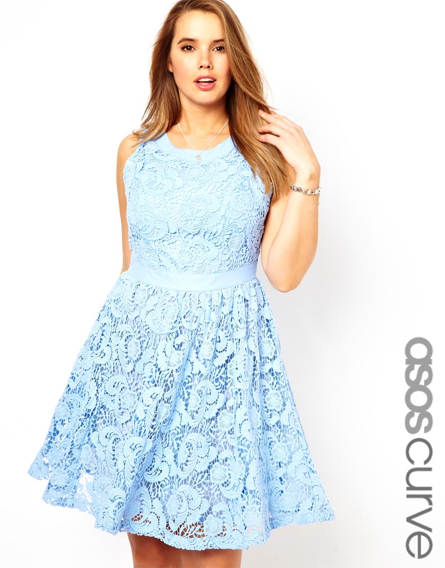 Asos Exclusive Salon Lace Dress With Leather Trim in Blue | Lyst
