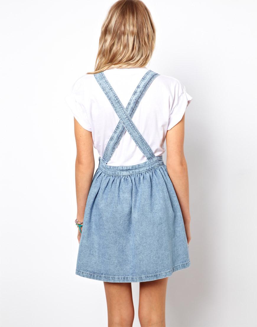 cd3f25f23e6 Lyst - ASOS Cross Back Denim Pinafore Dress in Light Vintage Wash in ...