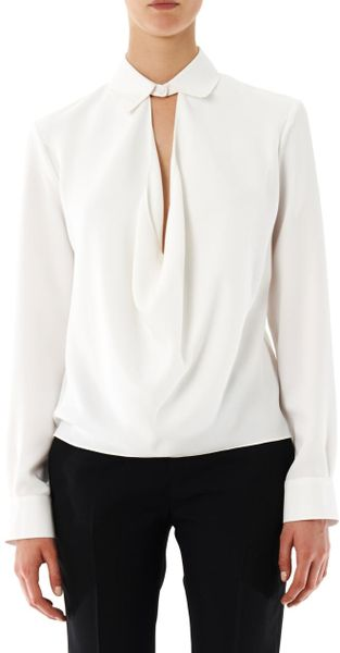 Womens White Crepe Blouse 19