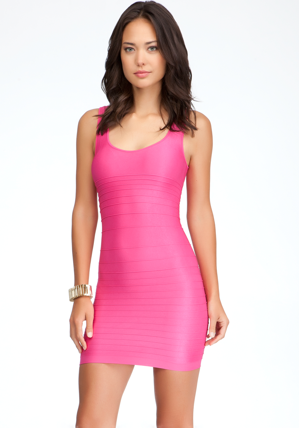 Lyst Bebe Back Cut Out Shine Bodycon Dress In Pink