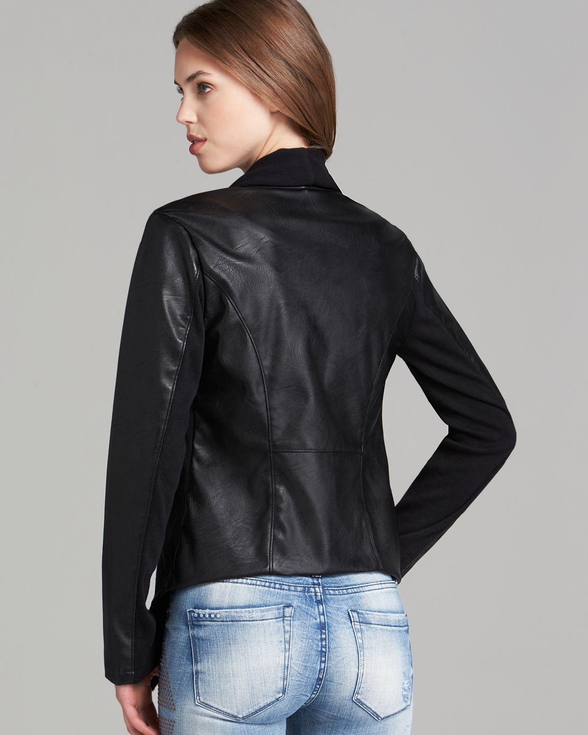Blank Nyc Jacket Faux Leather Asymmetric Zip In Black Lyst