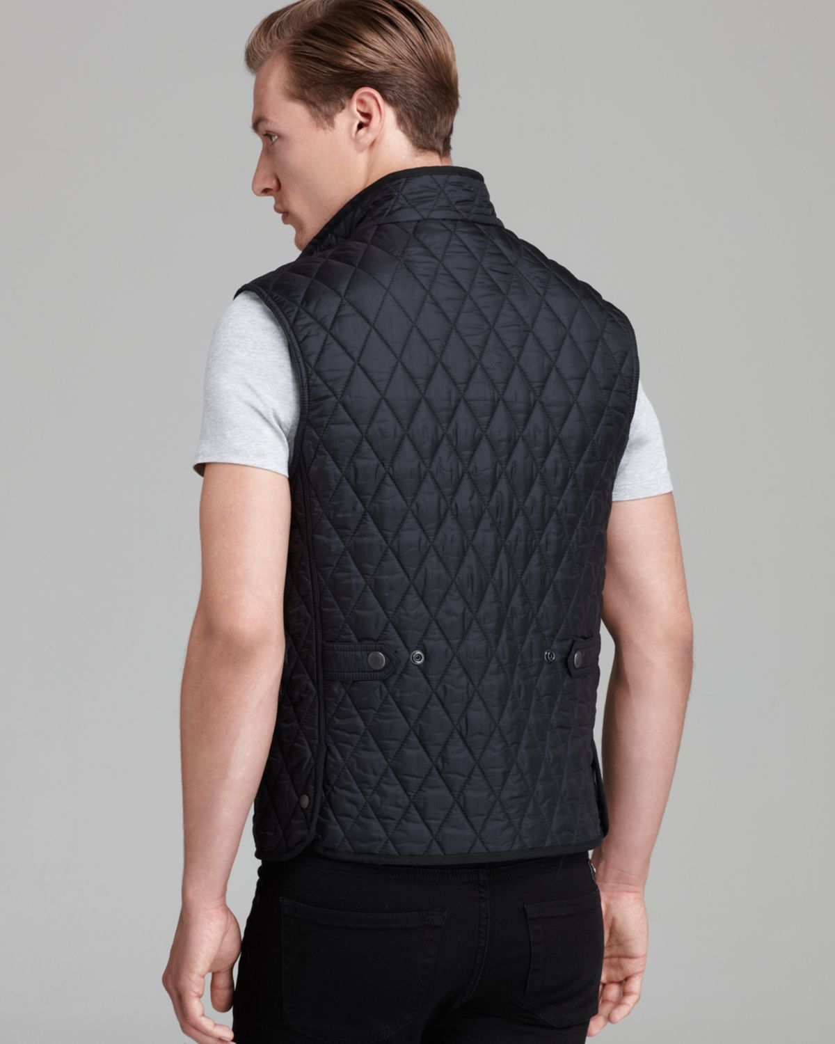 Burberry Haymarket Diamond Quilted Vest in Black for Men | Lyst : quilted vests for men - Adamdwight.com