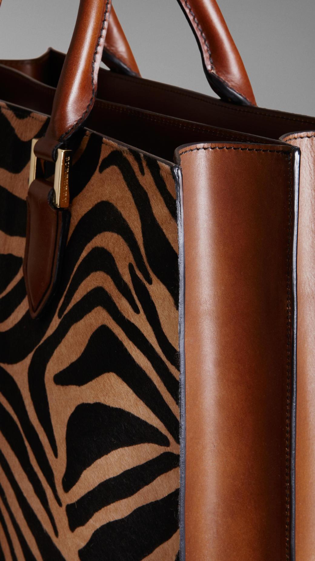 Burberry Striped Animal Print Tote Bag for Men