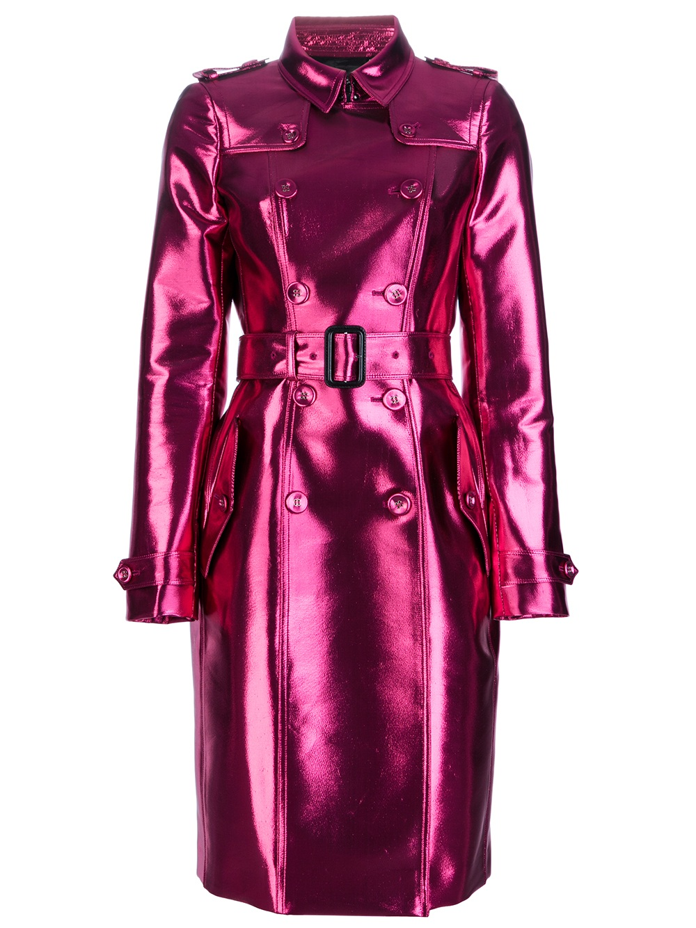 Burberry Prorsum Metallic Trench In Purple Lyst