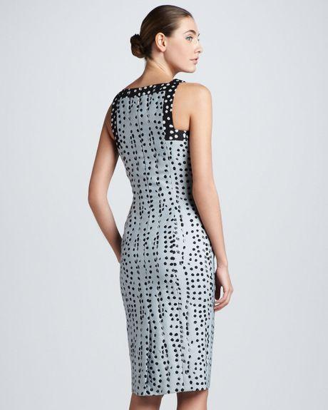 Carolina Herrera Polka Dot Jacquard Sheath Dress