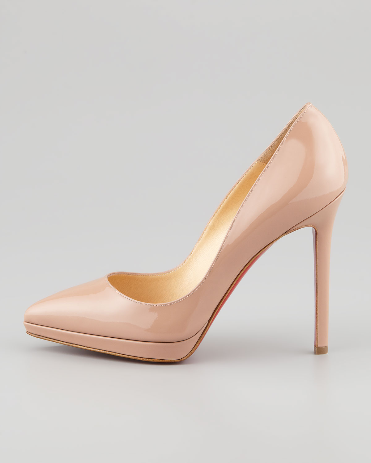 7ee860892f4 Christian Louboutin Natural Pigalle Plato Patent Platform Red Sole Pump Nude