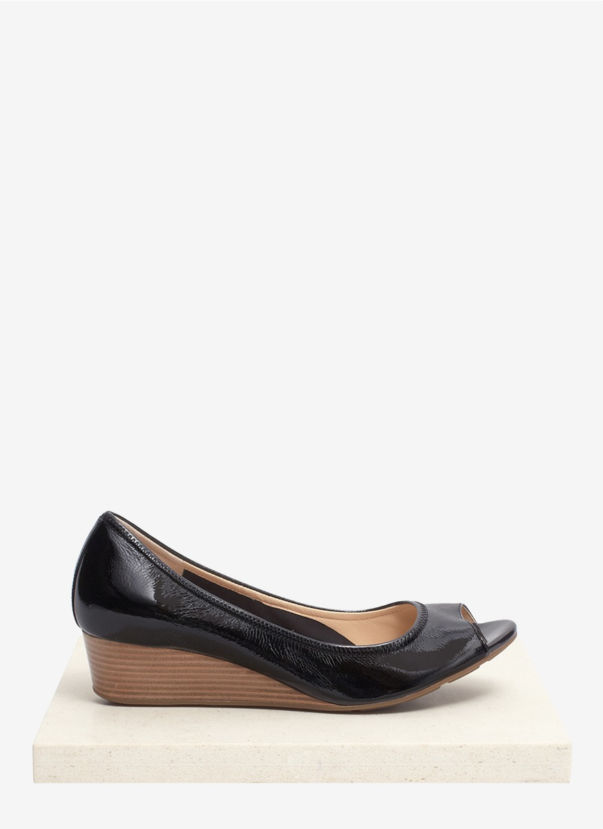55e5929bbcdf Lyst - Cole Haan  air Tali  Patent Leather Peep Toe Wedge Pumps in Black