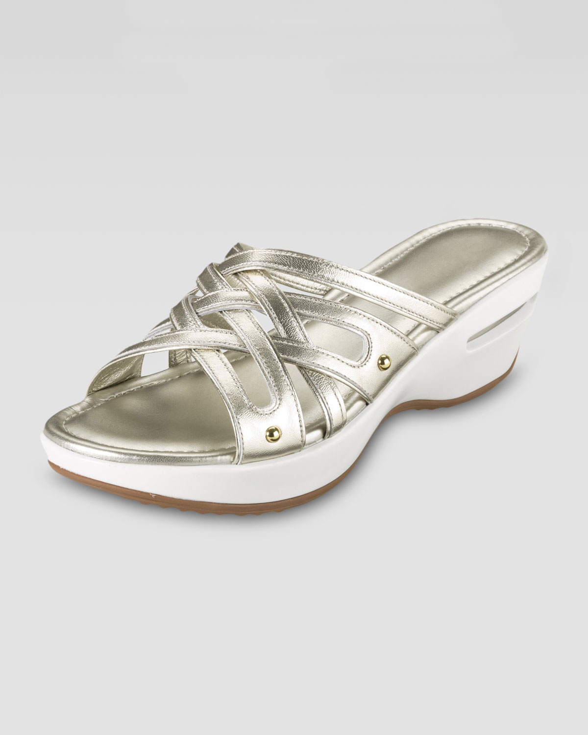 12bdebe3c0a Lyst - Cole Haan Air Ezra Strappy Wedge White Gold in Metallic