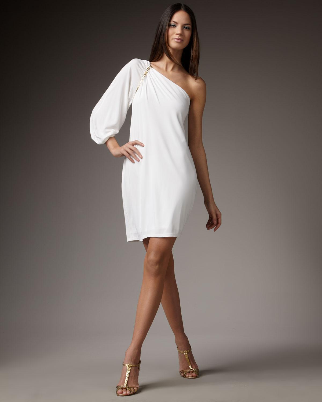6ea91a33ee2 David Meister White Oneshoulder Jersey Cocktail Dress